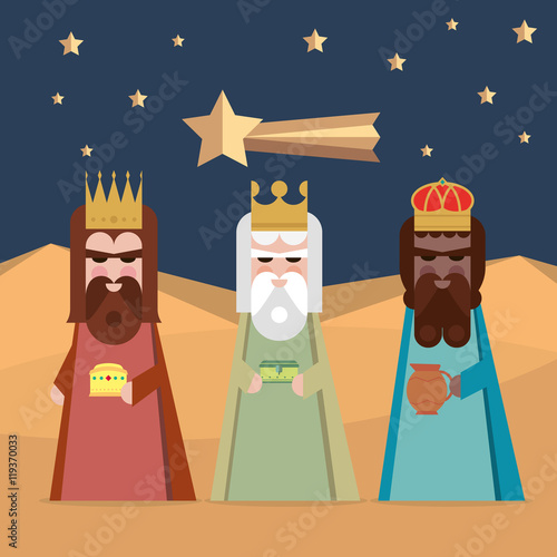 The three Kings of Orient wise men illustration Canvas Print