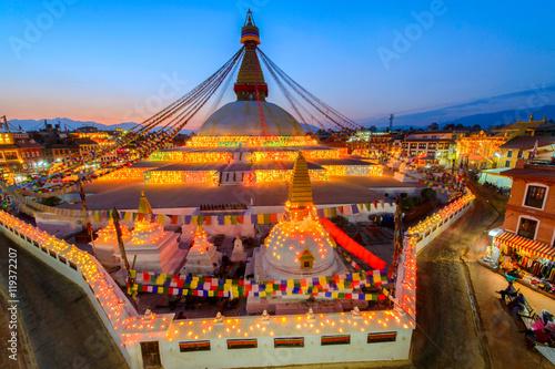 Stampa su Tela Beautiful of boudhanath stupa in twilight time at Kathmandu Nepal