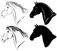 Vector Illustration Of Horse Head Clip-art Set.