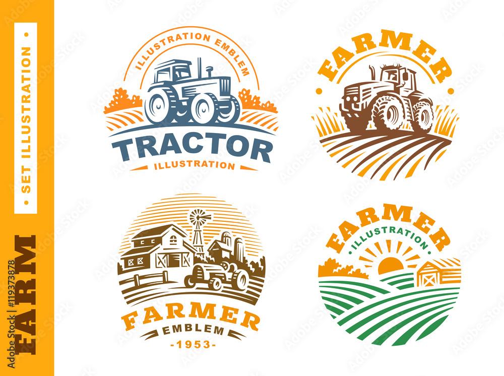 Fototapeta Set Illustration farm logo on dark background