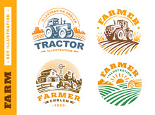 Set Illustration Farm Logo On ...