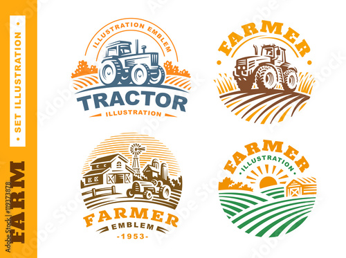 Fototapeta Set Illustration farm logo on dark background obraz