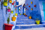 Fototapeta Na drzwi - Morocco, Chefchaouen or Chaouen  is most  noted for its small narrow streets and neighborhoods painted in  variety of vivid blue colors. Plantings in colorful pots line the narrow corridors.