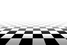 Checkered Background In Perspective - Vector Illustration.