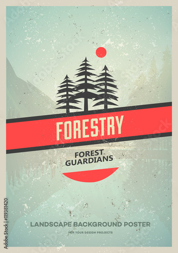 Wilderness poster with pine trees