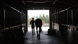 Fototapeta Konie - Young jockey is walking with a horse out of a stable. Man leadin