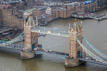 Obraz na SzkleLondon, England - Aerial view of the world famous Tower Bridge