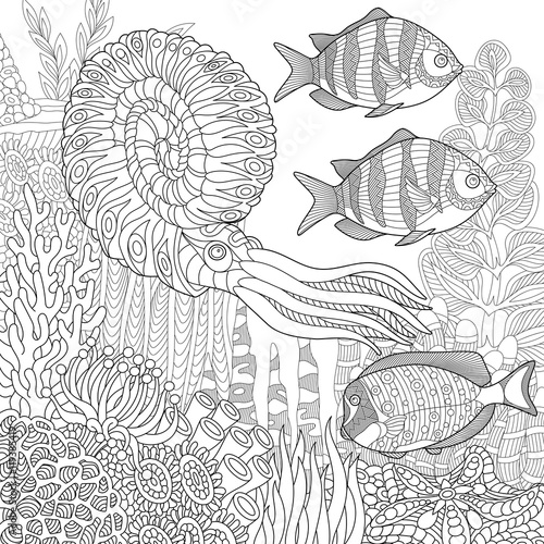 Stylized Composition Of Tropical Fish Calamari Squid Underwater Seaweed Corals And