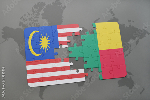 Photo  puzzle with the national flag of malaysia and benin on a world map background