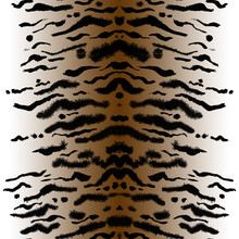 Seamless Handmade Tiger Print. Animal Skin Pattern On A Brown Gradient Background. Stripes Of Animals Painted Watercolor Ornament.