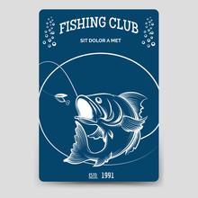 Fishing Club Brochure Flyer Template Vector Illustration