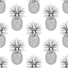 Black And White Seamless Pattern With Hand Drawn Pineapple. Monochromic Pineapple Vector Background