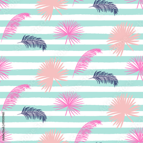 Pink banana palm leaves seamless vector pattern on striped blue background Poster