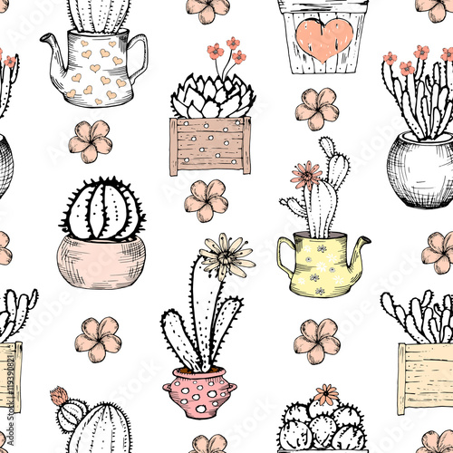 Cotton fabric Seamless pattern with black and white cactus with flowers in pastel pink pot. Vector print with cactuses. Cute tile template, hand drawn