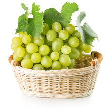 Green Grapes In Basket Isolated On The White Background