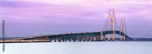 Printed kitchen splashbacks Purple Mackinaw Bridge