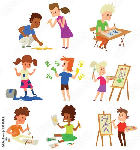 Tuinposter Vormen Artist kids children vector set.