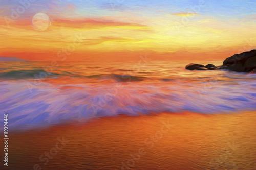 Tuinposter Oranje eclat Ocean Sunset