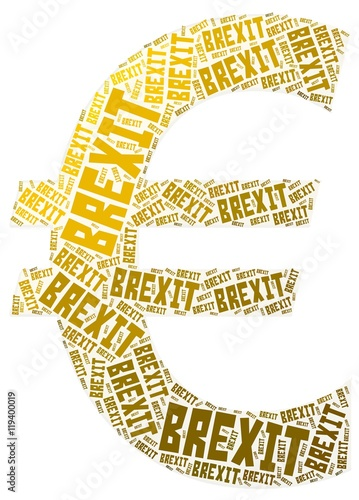 Brexit Euro Symbol Word Cloud Shaped As Euro European Currency