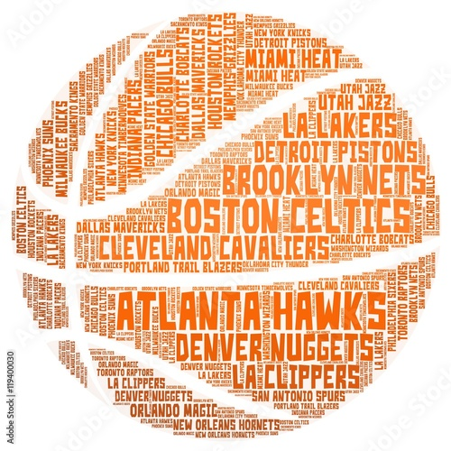 Photo  NBA teams word cloud shaped as an orange basketball