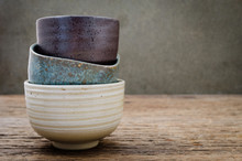 Empty Bowl On Rustic Wood, Jap...