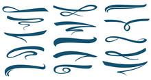Vector Marker Stroke Line Lettering Underlines Collection