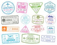 International Business Travel Visa Stamps Vector Arrivals Sign Set