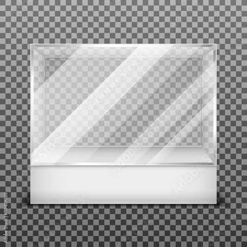 Foto op Canvas Licht, schaduw Transparent display glass box isolated on checkered background vector illustration