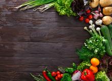 Frame Of Fresh Vegetables On W...