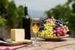 White wine in vineyard.