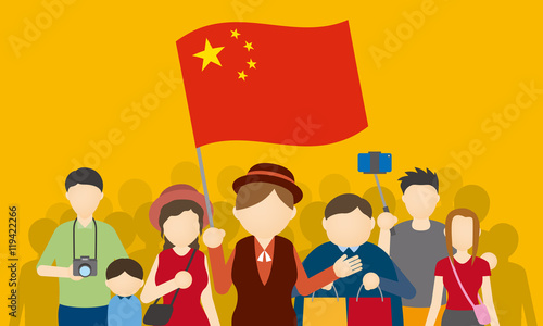 Chinese tourists and tour guide, Inbound tourism, vector illustration Canvas Print