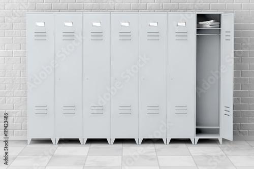 Slika na platnu Grey Metal Lockers. 3d Rendering