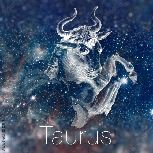 Obraz Astrological zodiac sign - Taurus. Vintage astrological drawing. Galaxy sky on the background. Can be used for horoscopes. Elements of this image furnished by NASA. - fototapety do salonu