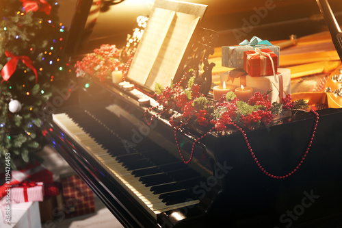 Piano with Christmas decoration - 119426453
