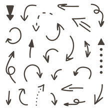 Set Of Monochrome Hand-drawn A...