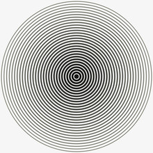 Concentric Circle. Illustration For Sound Wave. Black And White Color Ring. Vector Illustration