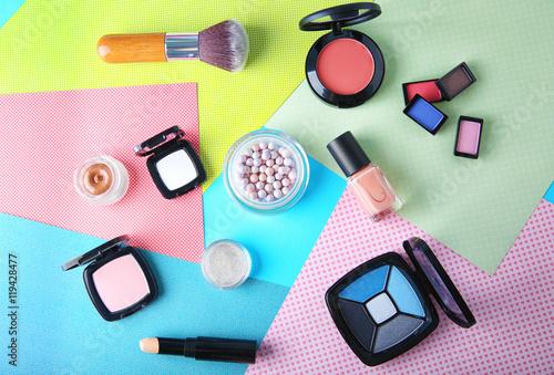 Fototapety, obrazy: Decorative cosmetic set on color background