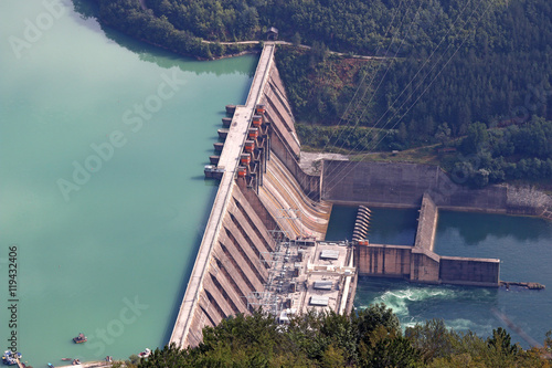 Poster Barrage hydroelectric power plant on river