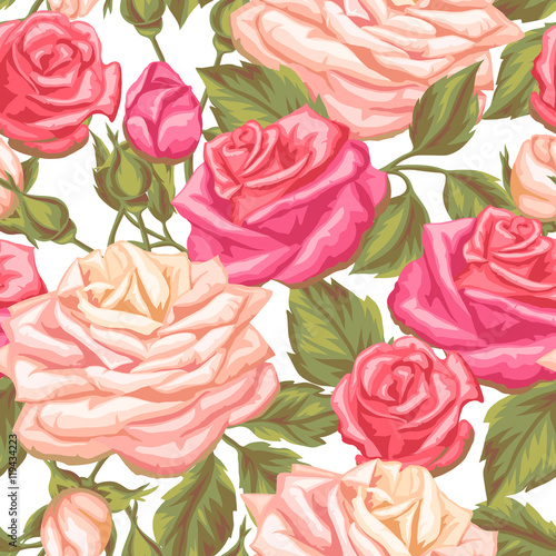 Seamless pattern with vintage roses decorative retro flowers easy seamless pattern with vintage roses decorative retro flowers easy to use for backdrop mightylinksfo