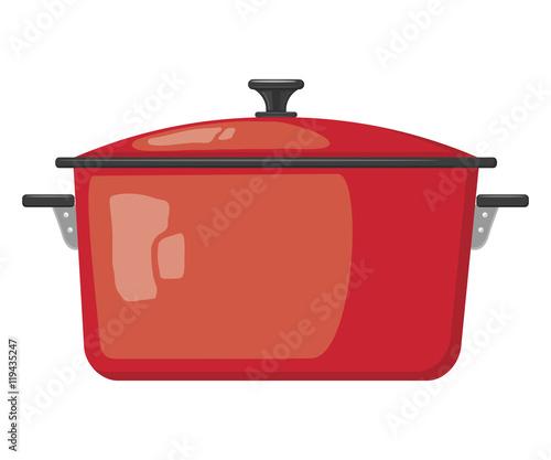 Fotografie, Tablou Cartoon red pot with lid on white background. Kitchen utensils.