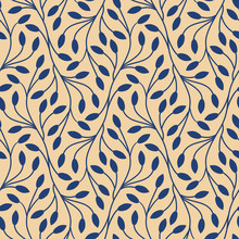 Seamless Leaves Pattern On Bei...