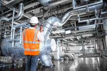 Engineer Working In Thermal Power Plant Factory