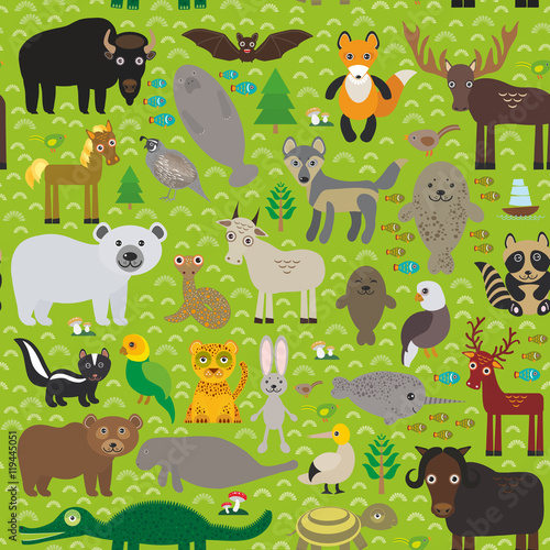 seamless pattern bison bat fox elk horse wolf partridge fur seal bear Pit viper snake Mountain goat raccoon Eagle skunk parakeet Jaguar hare narwhal elk Grizzly gannet Muskox turtle alligator. Vector