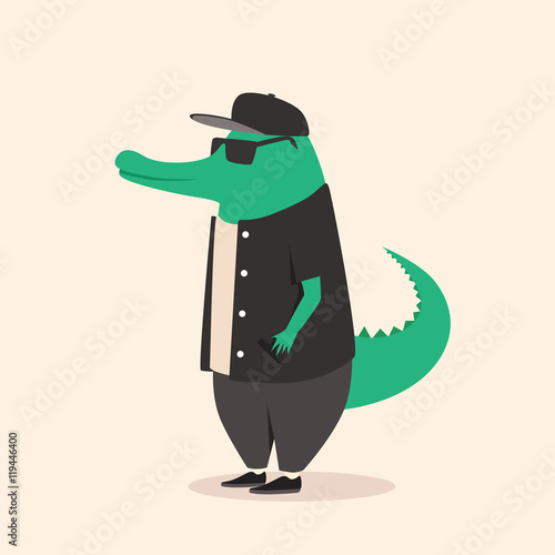 Photo Animal in clothing. Casual style. Cartoon vector illustration