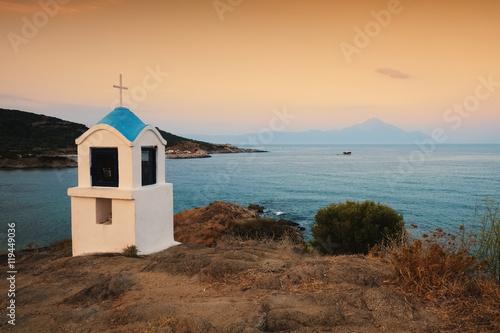 Valokuva  Religious chapel along the Aegean sea, Chalkidiki, Greece