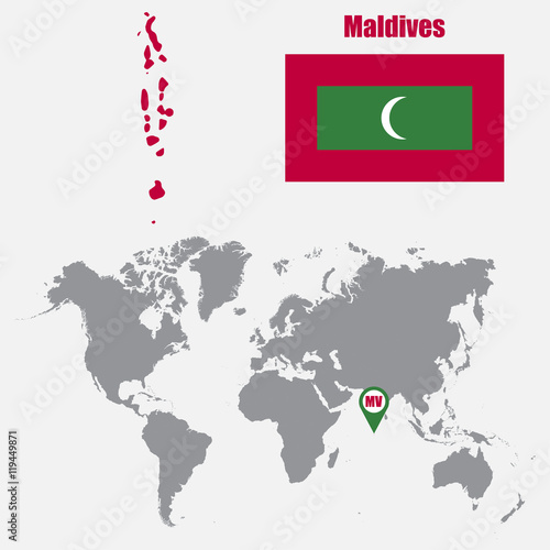 Maldives map on a world map with flag and map pointer. Vector ...