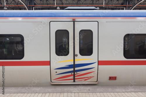 Malaysia train door. Canvas Print