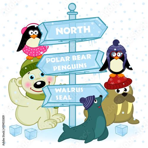 Photo  north animals near ice sign - vector illustration, eps