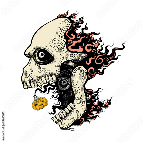 Evil Skull In Fire Hand Draw Vector Cartoon Illustration