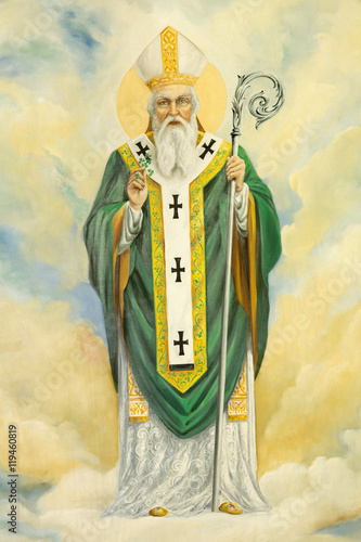 ROME, ITALY - MARCH 10, 2016: The St. Patrick painting in church Basilica di Santa Maria Ausiliatrice by the Salesian priest and artist Don Giuseppe Melle. Wall mural